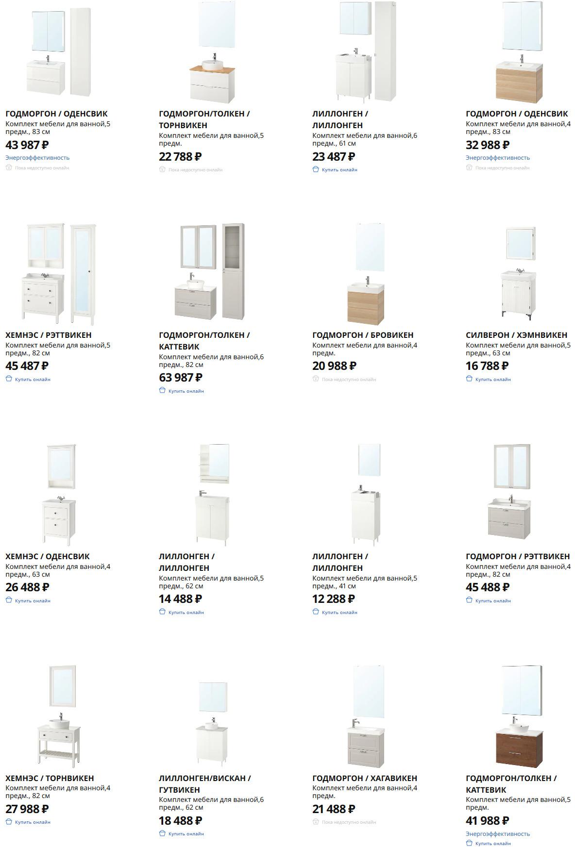 Комплекты мебели для ванной Икеа