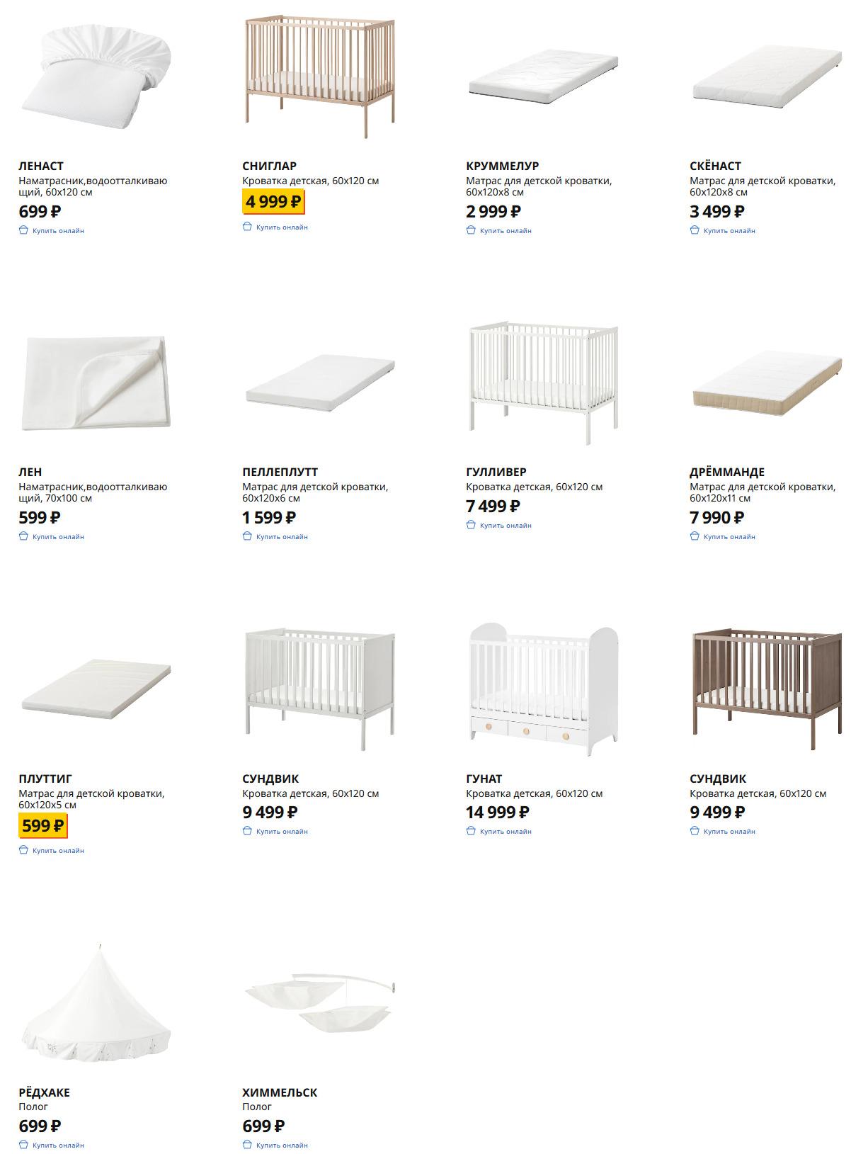 Кроватки и матрасы для малышей Икеа